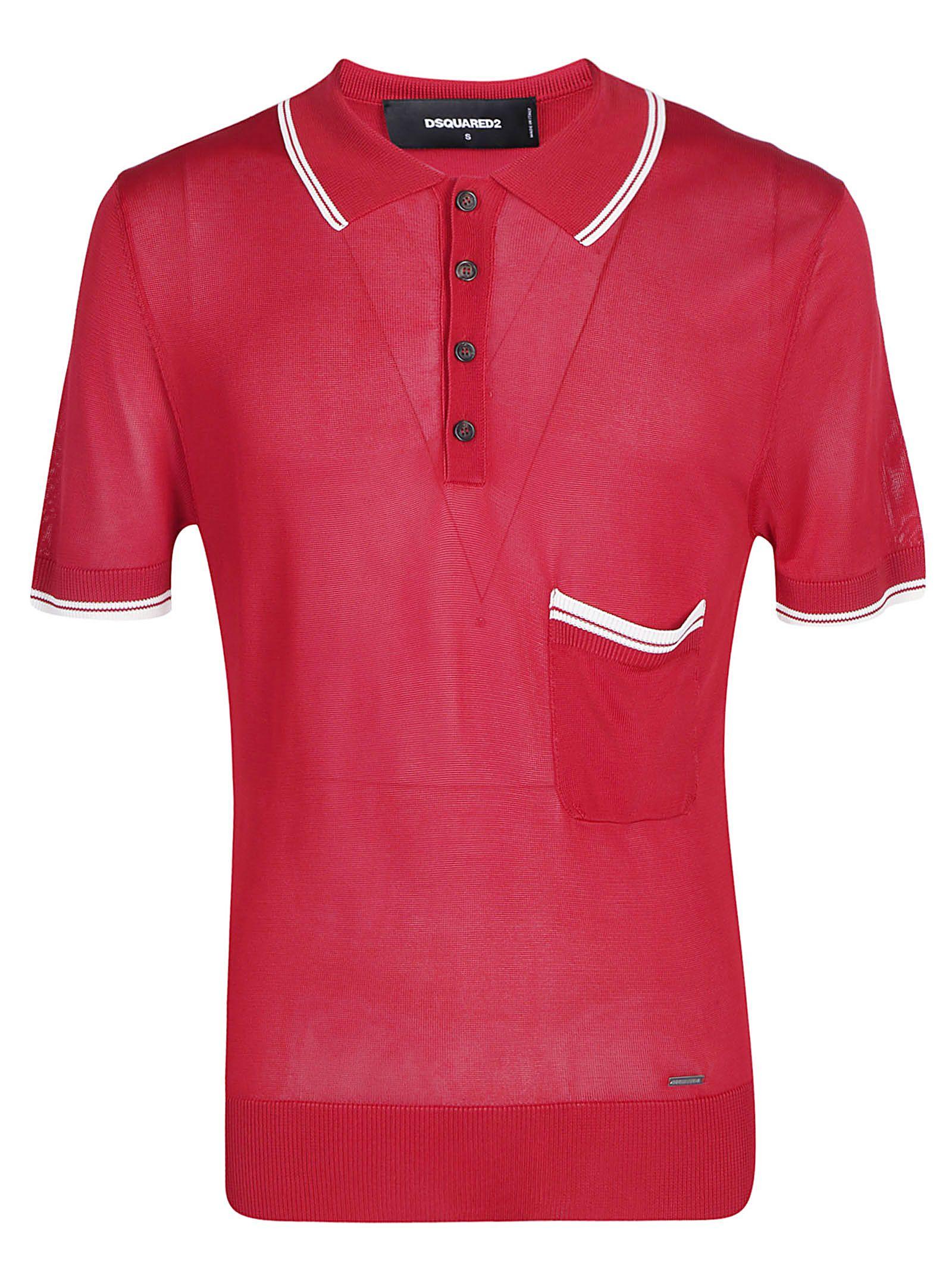10b4cfa4 Dsquared2 Dsquared2 Knit Polo Shirt - Red/white - 10925873 | italist