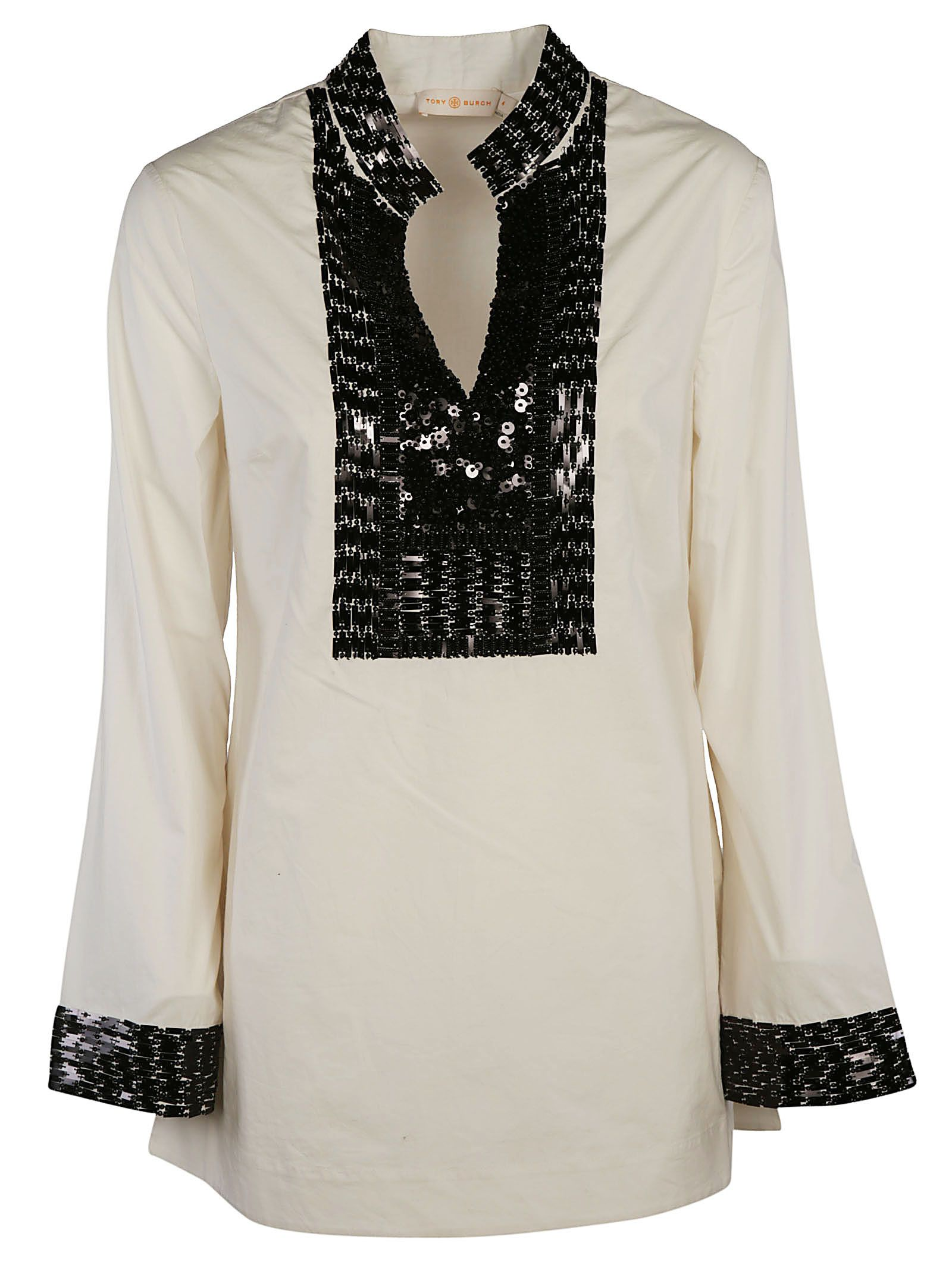 3c5870fc4c9b Tory Burch Tory Burch Embellished Tory Tunic Top - White - 10544112 ...