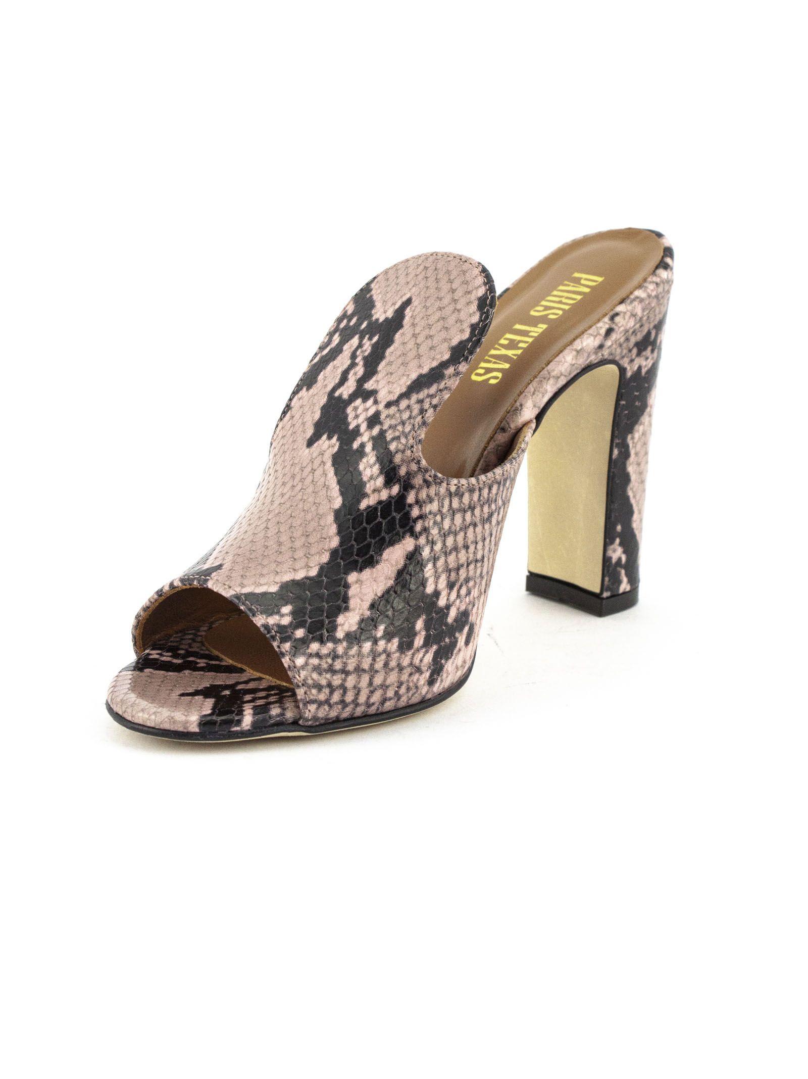 4cc7e9840fb Paris Texas Paris Texas Pink Leather And Python Snakeskin Sandals ...