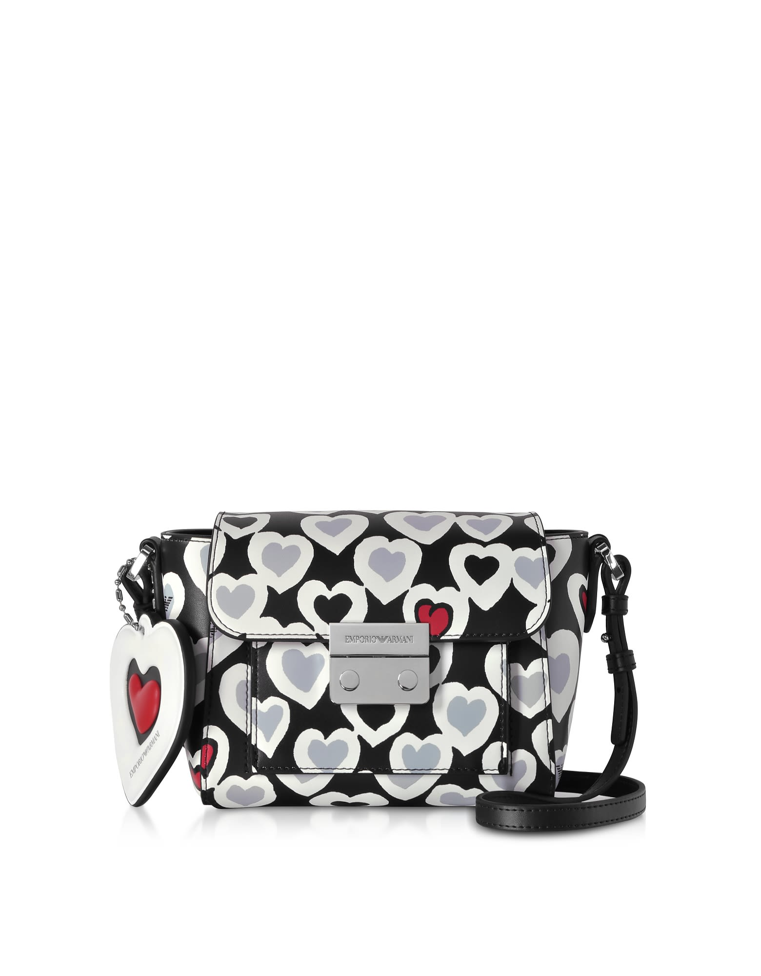 a4da1f84e2a4 Emporio Armani Emporio Armani Small Heart Print Shoulder Bag - Black ...