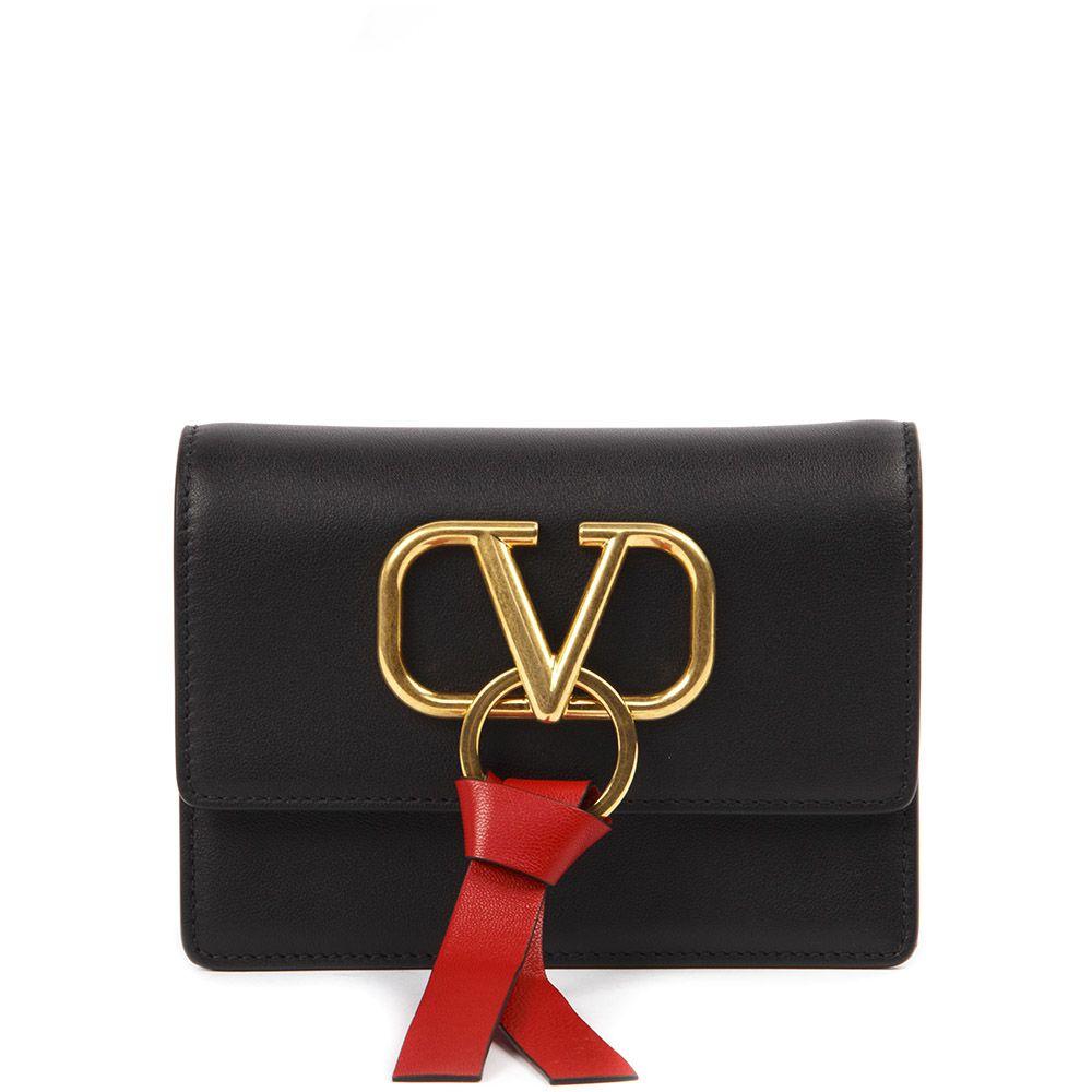905ca84a1b4be Valentino Garavani Valentino Garavani Black V-ring Leather Bag ...