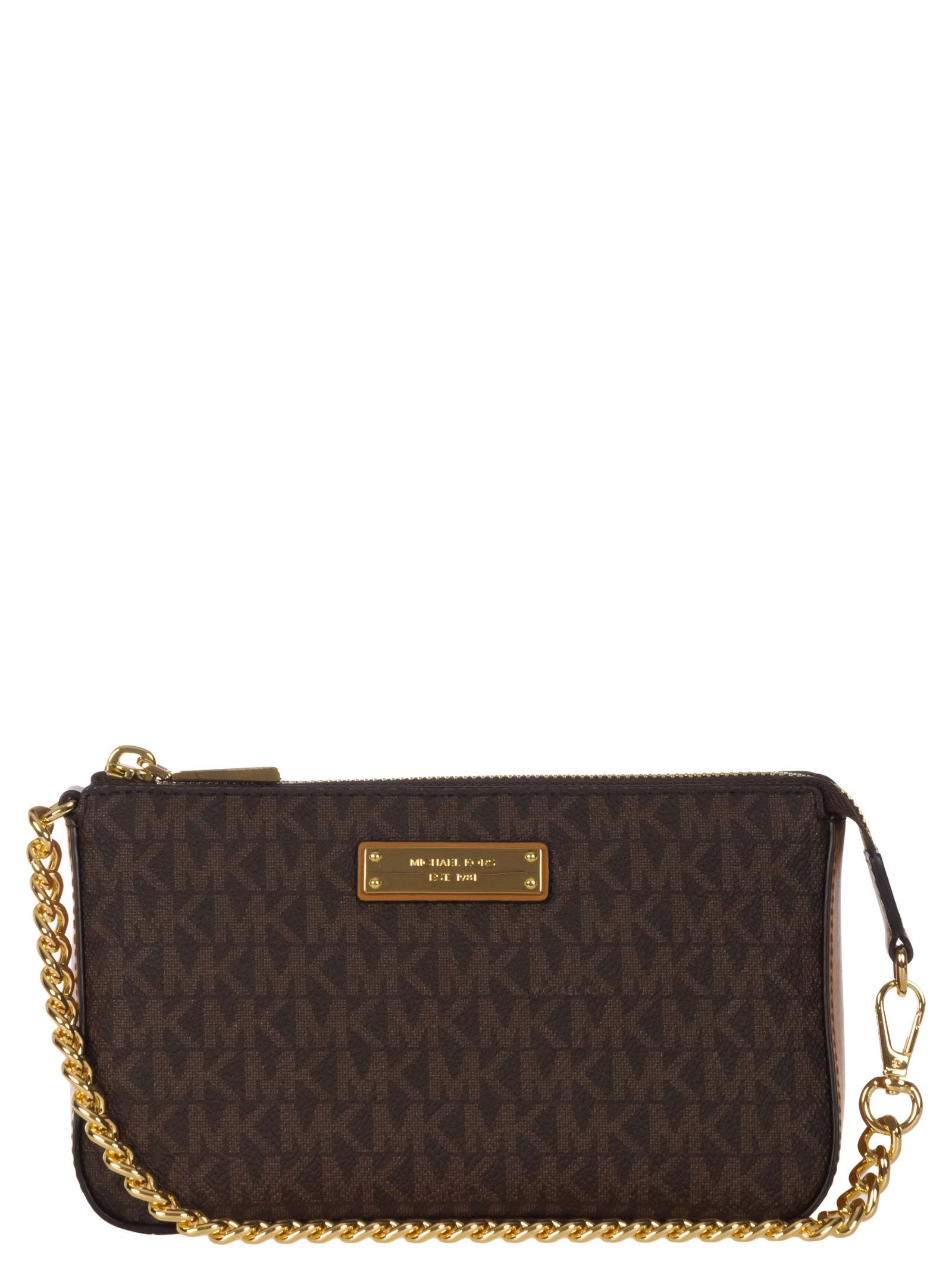 2bca6fbcc0d Michael Kors Michael Kors Chain Clutch Bag - Brown - 10857615 | italist
