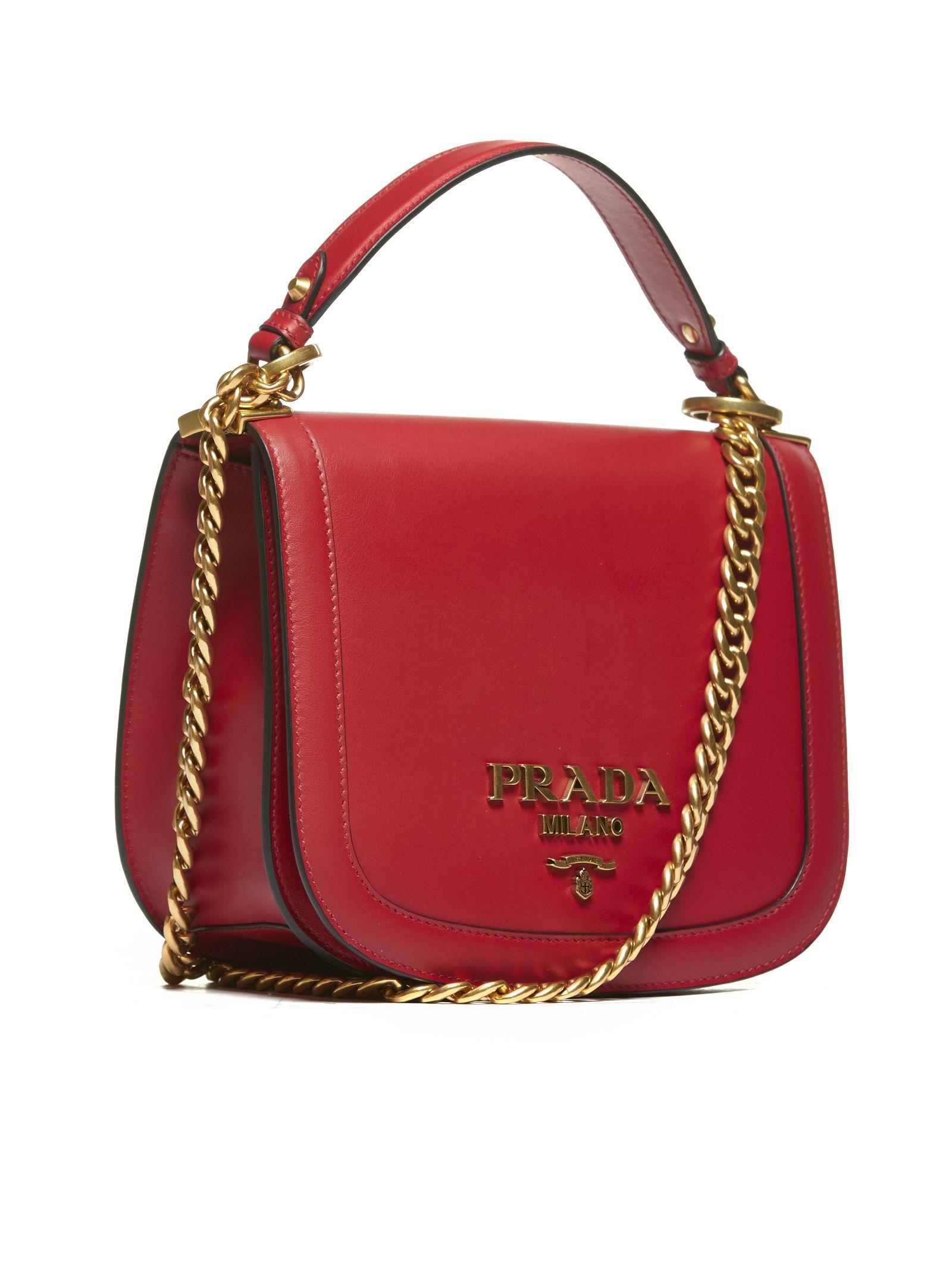 426d072d78 Prada Prada Logo Plaque Shoulder Bag - Rosso - 10642671 .