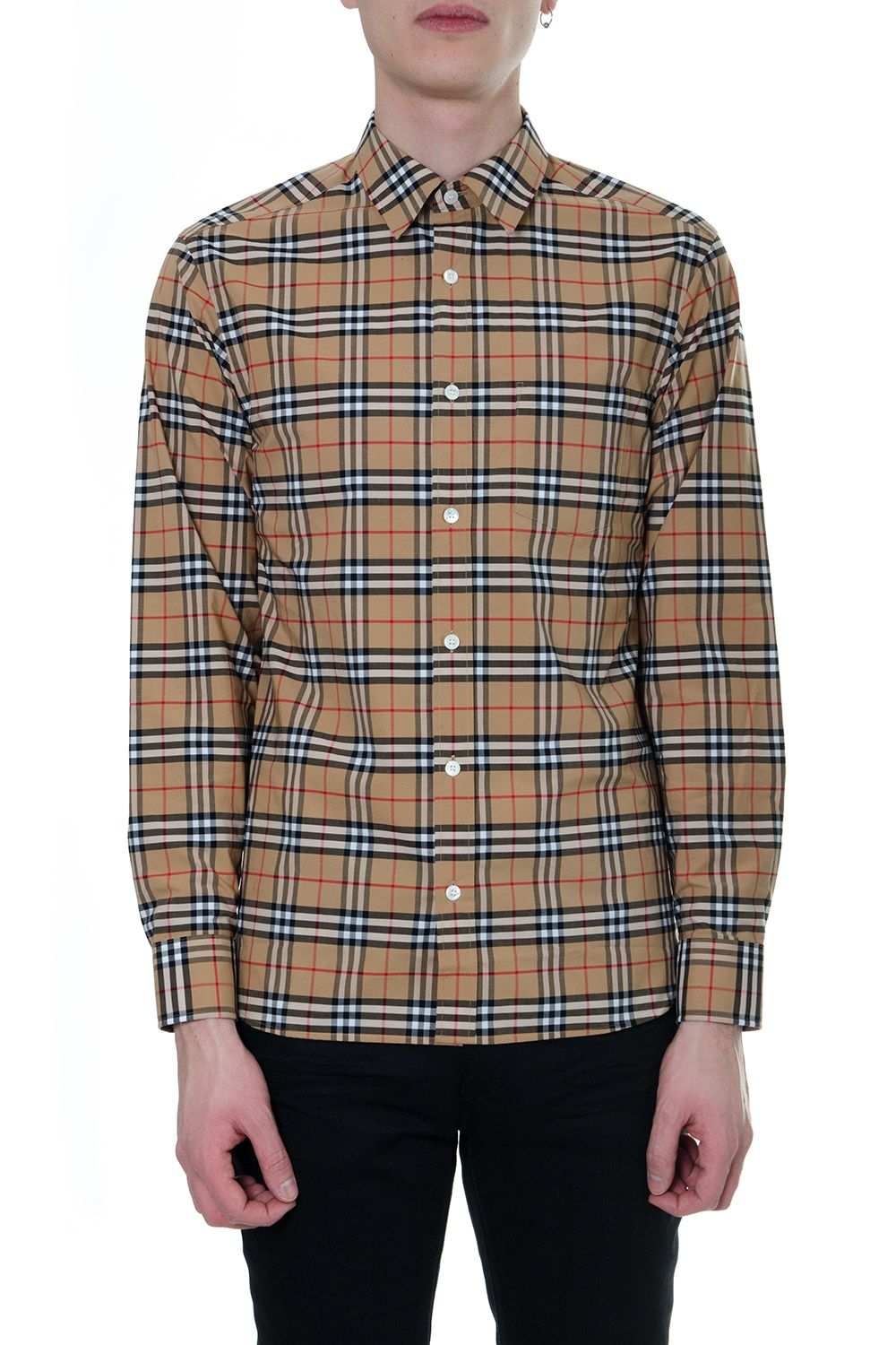 Camel Cotton Checked Burberry 10826322 Shirt SzpjMLqUGV