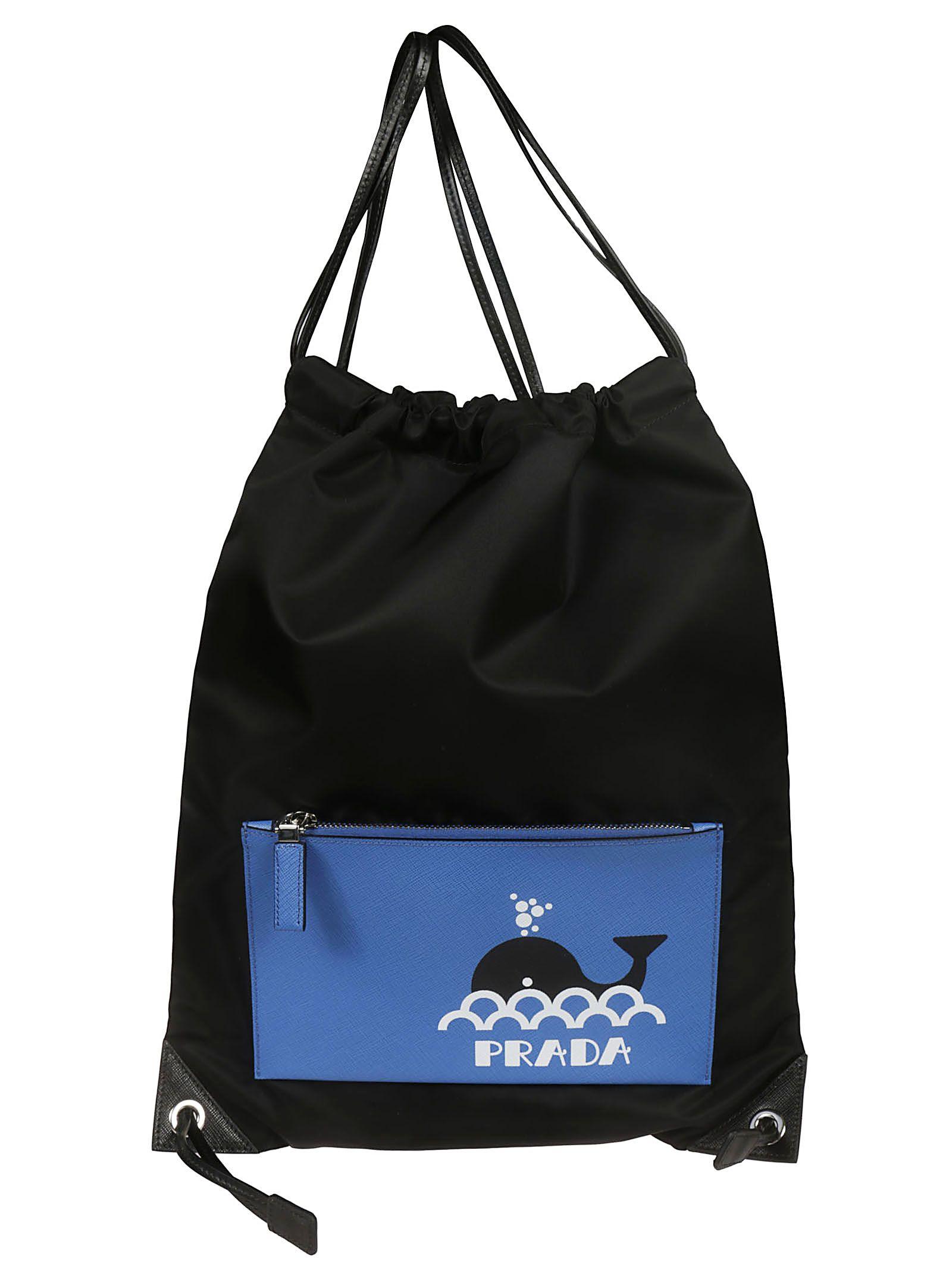 986e86492bcb Prada Prada Drawstring Backpack - Black/Blue - 10930632 | italist