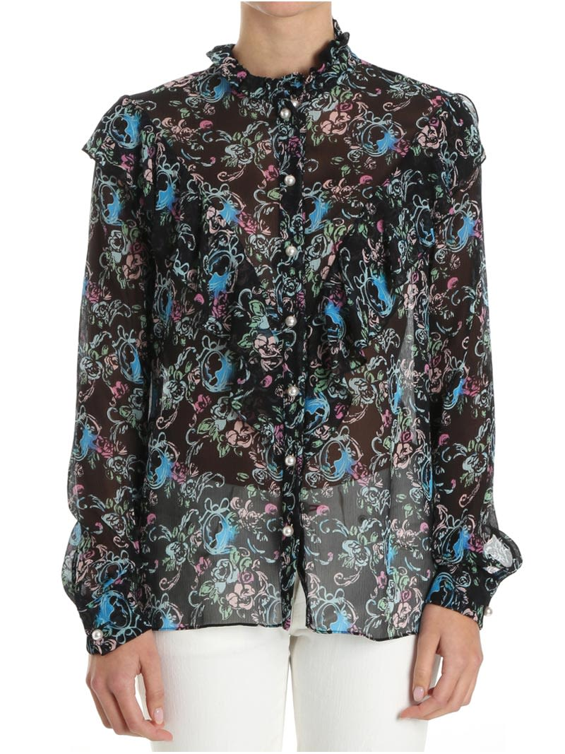 0615bf45e8acd Boutique Moschino Boutique Moschino Silk Blouse - BLACK - MULTICOLOR ...