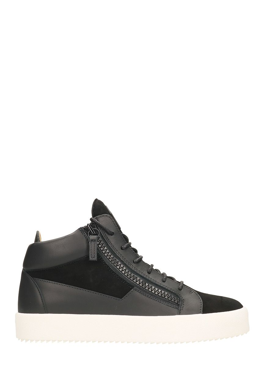 3cedba2147c75 Giuseppe Zanotti Kriss Black Leather And Suede Mid Sneakers - black ...
