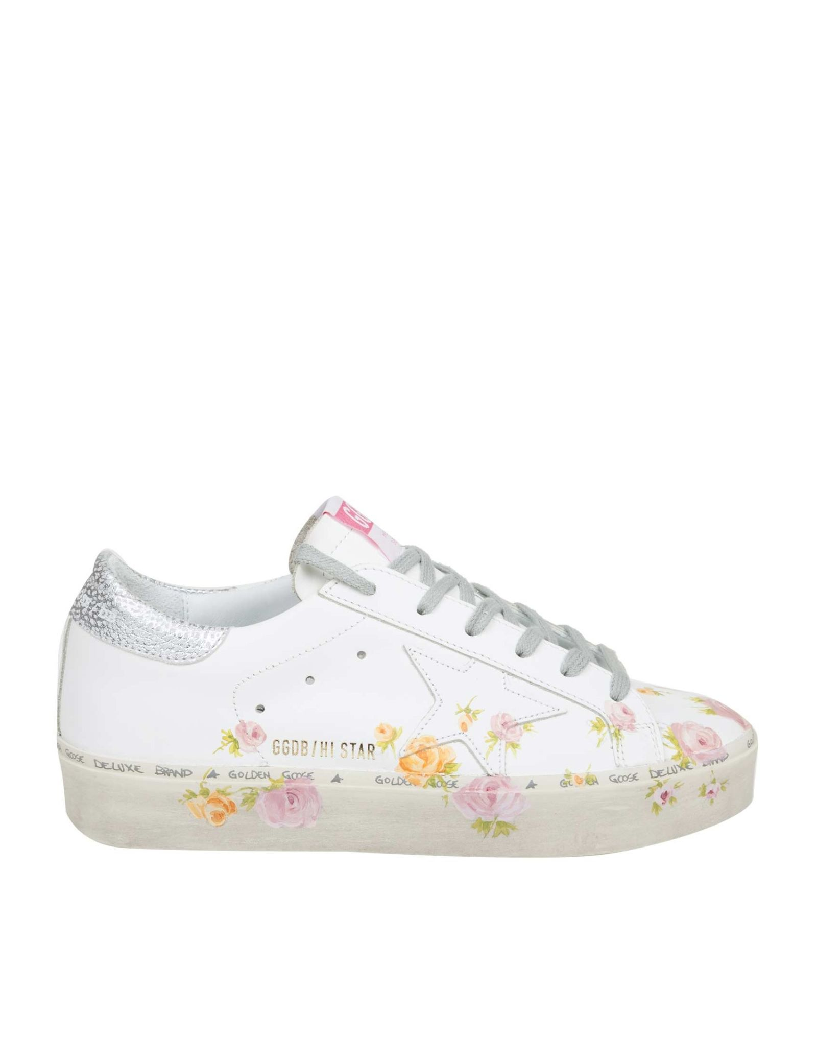 23d89bc0afba Golden Goose Hi Star Sneakers In White Leather With Floral Print - White ...