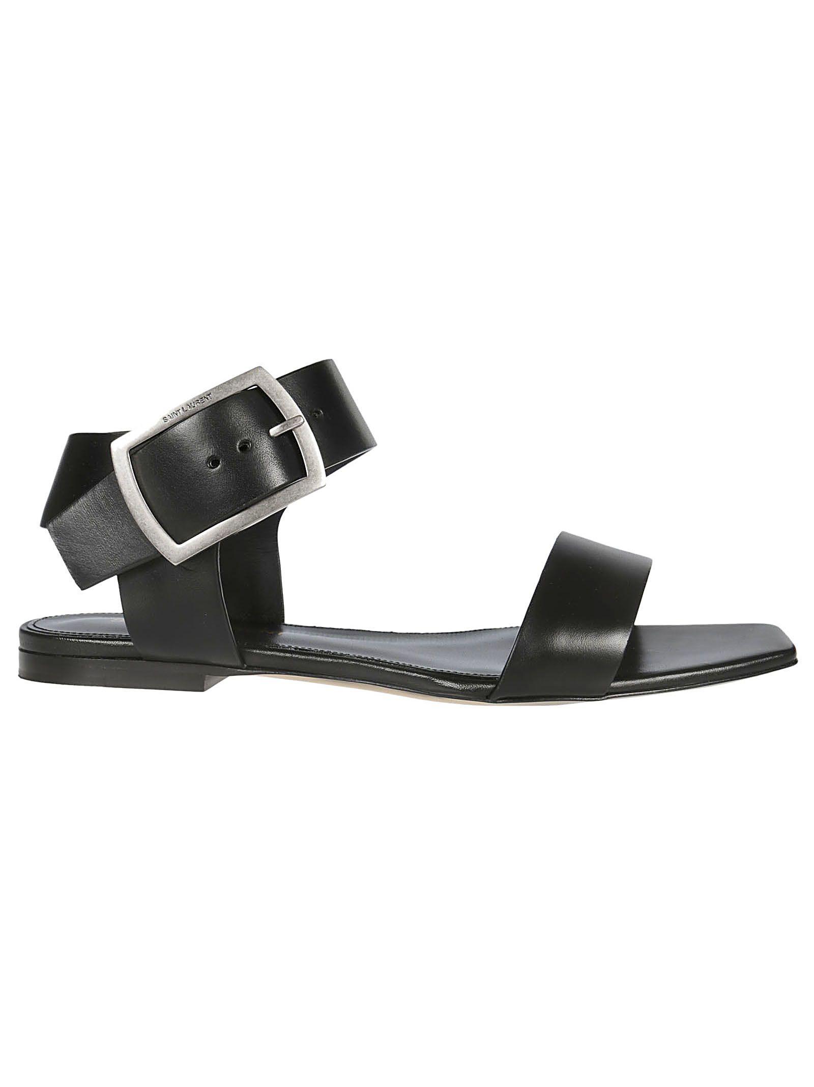 c2740f6c2cc Saint Laurent Saint Laurent Flat Sandals - Black - 10848495