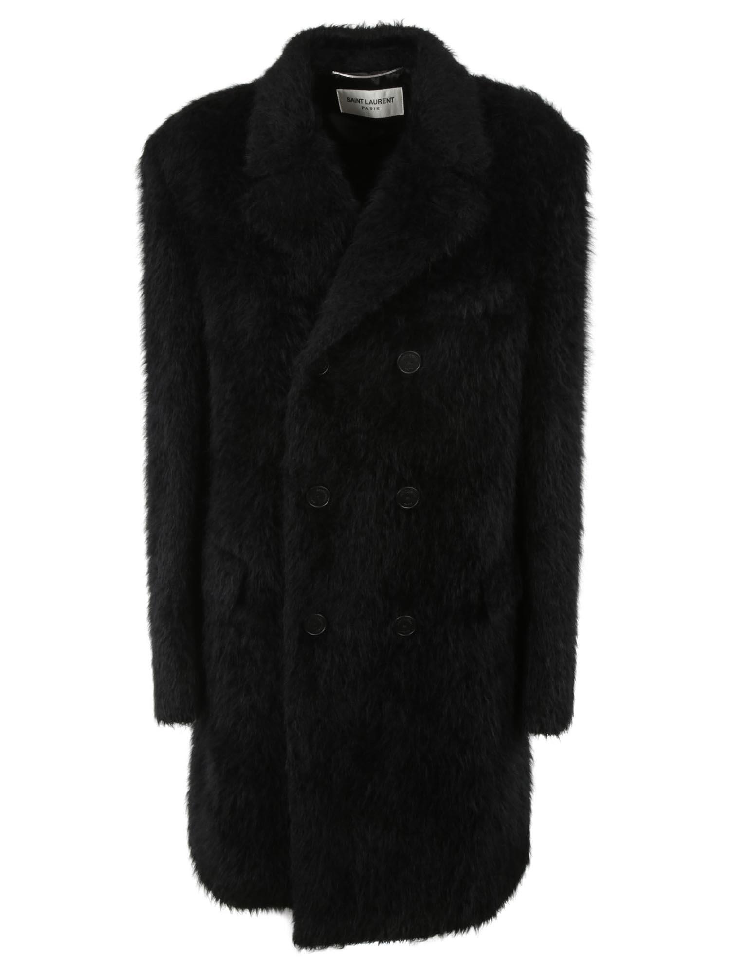 ca754c99484 Saint Laurent Saint Laurent Double Breasted Coat - Black - 10972340 ...