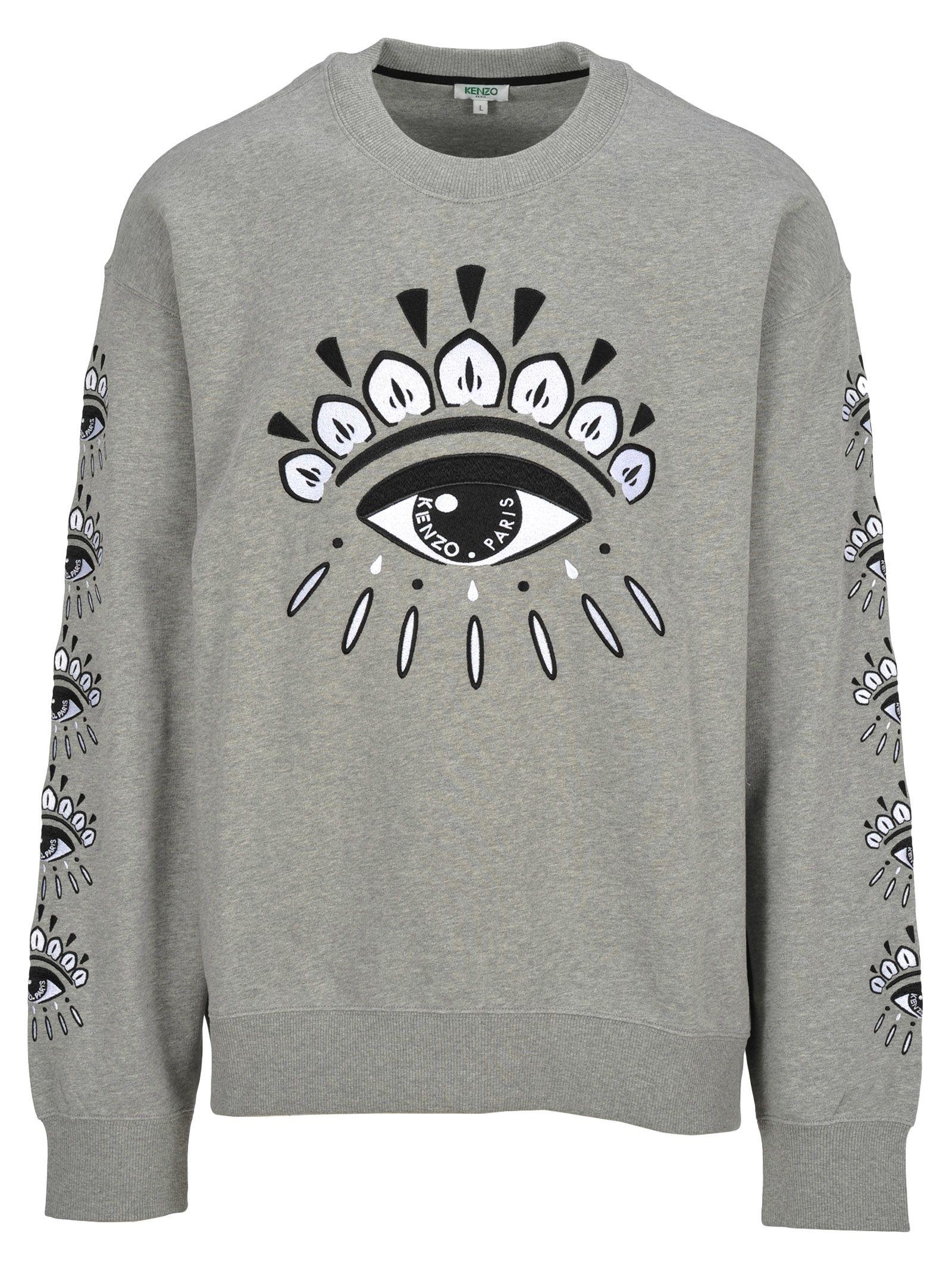 7df85d9043d9 Kenzo Kenzo Kenzo Embroidered Eye Sweatshirt - PEARL GREY - 10814701 ...