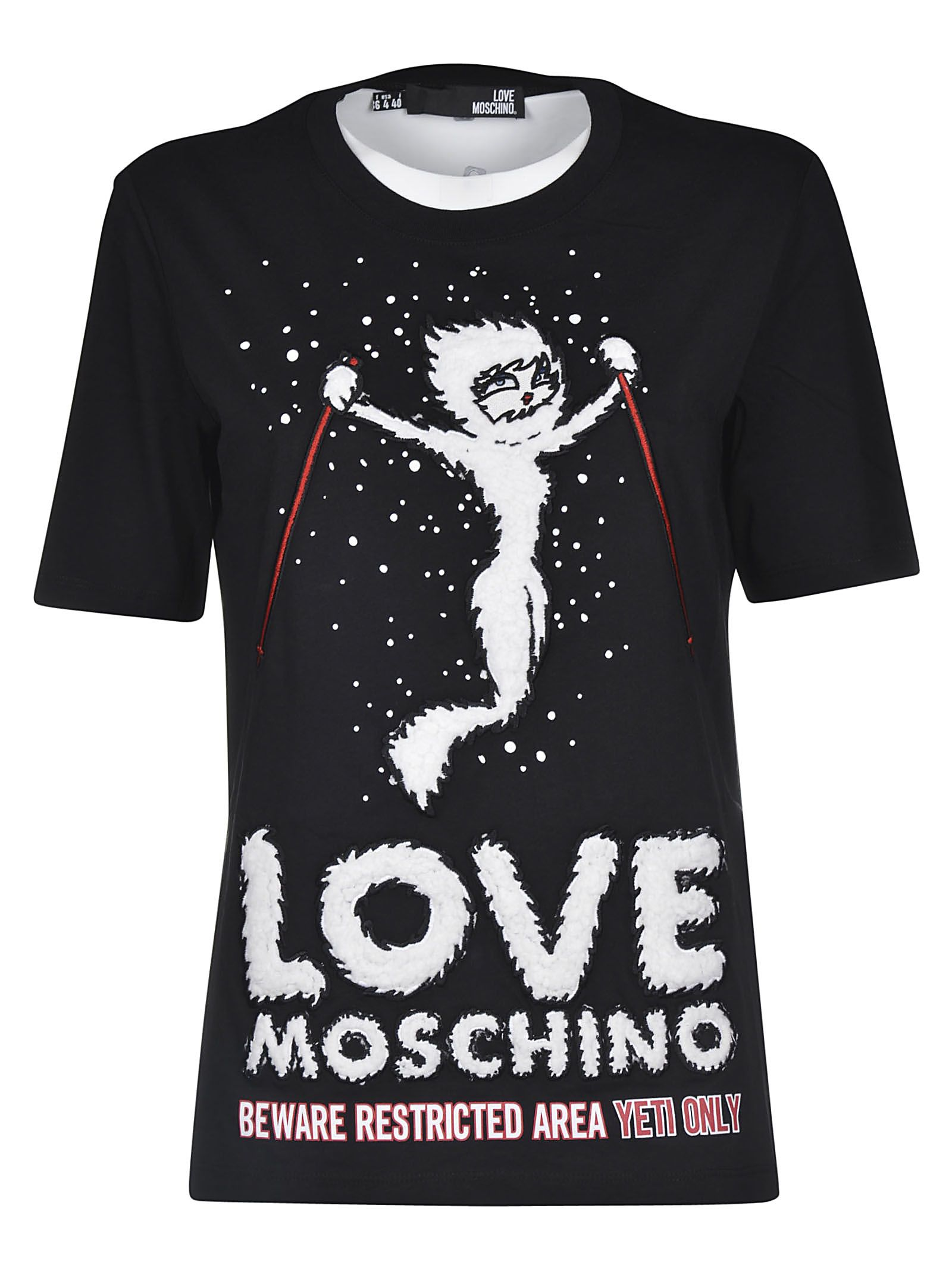 love moschino love moschino logo print t shirt black. Black Bedroom Furniture Sets. Home Design Ideas
