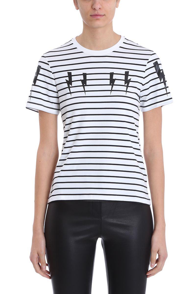 38c839ff Neil Barrett Lightning Bolt Stripes Black And White Cotton T-shirt - white  ...
