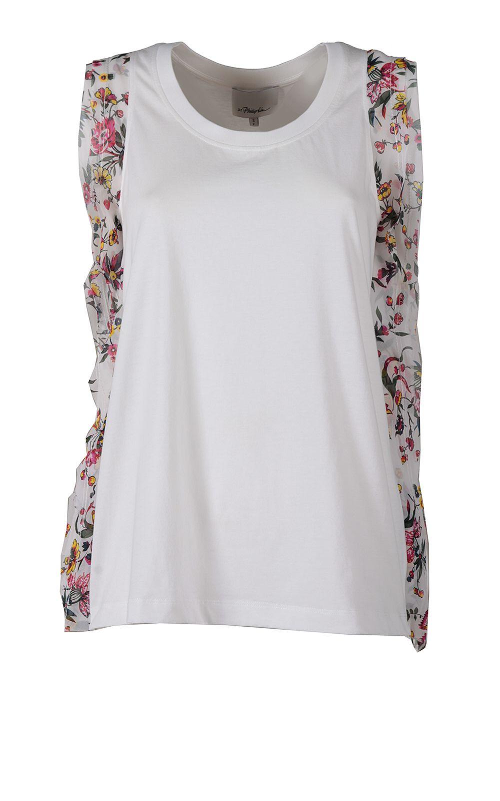 e283441d0a426 3.1 Phillip Lim Floral Silk-ruffle Cotton-jersey Tank Top - White ...