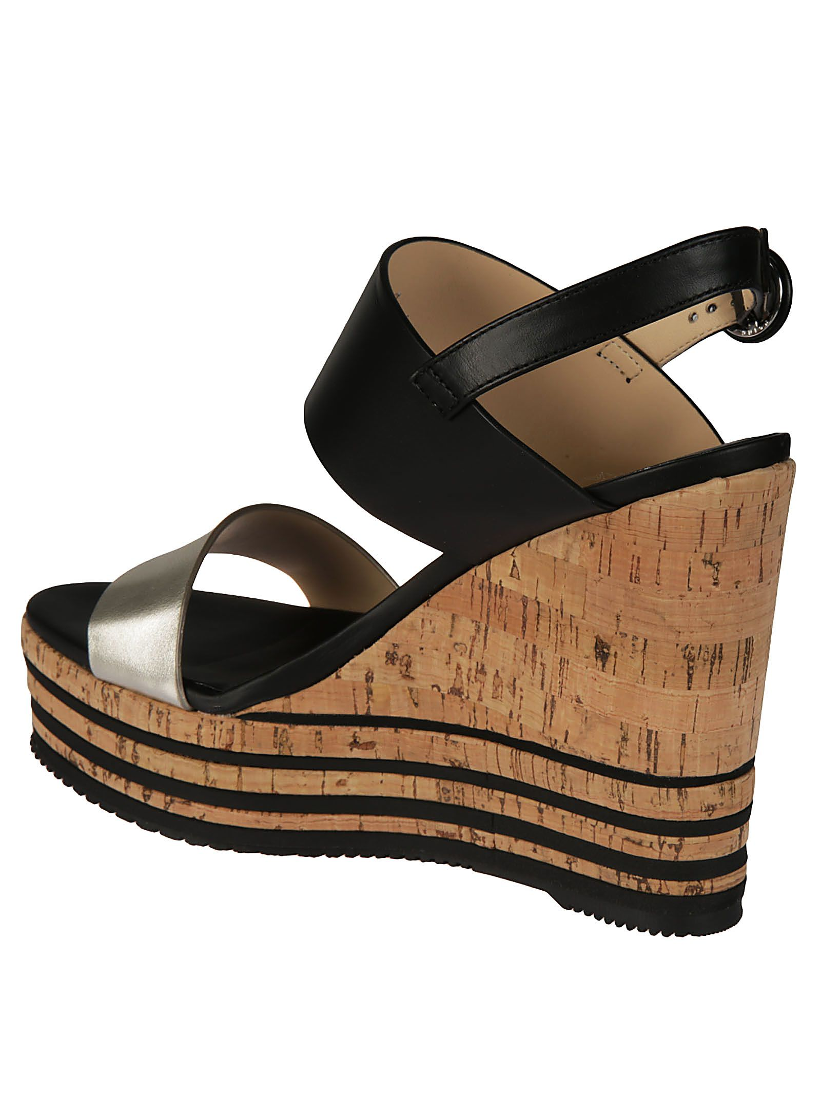 2d0575943fb7 Hogan Hogan Striped Cork Platform Sandals - Gray - 10600500
