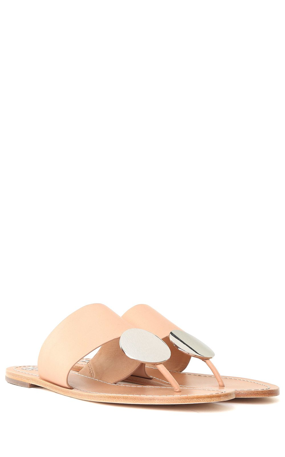 55a977b2d05 ... Tory Burch Patos Disc Smooth-leather Thong Sandals - Beige ...