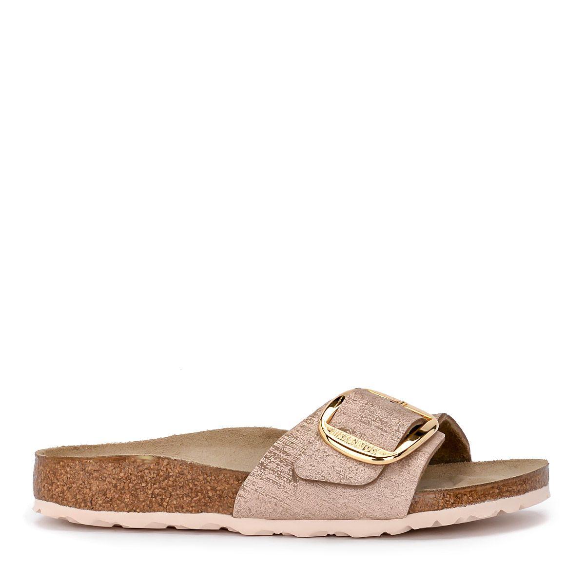 80b621254d74fe Birkenstock Madrid Big Buckle Pale Pink Laminated Leather Sandal - ROSA ...