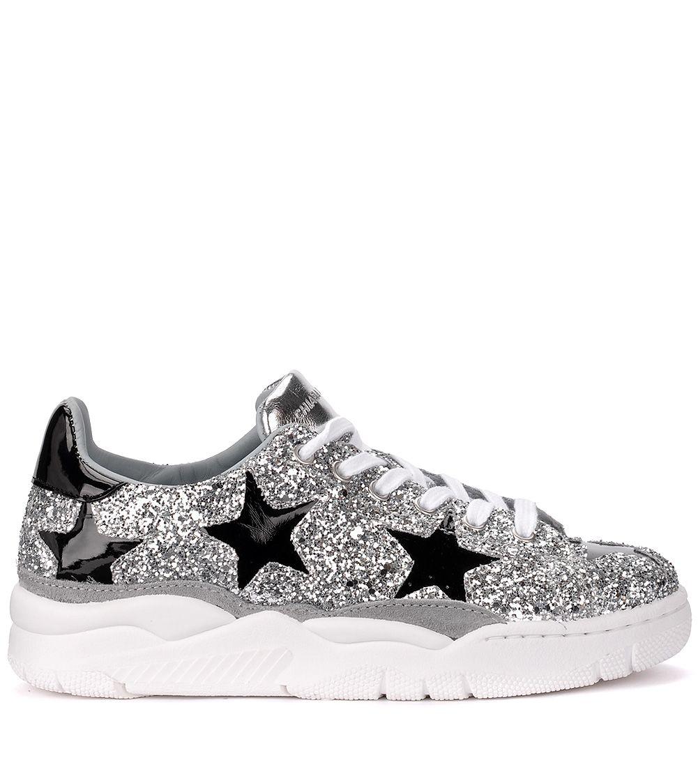 f29092db4515 Chiara Ferragni Roger Silver Glitter And Black Stars Sneaker - ARGENTO ...