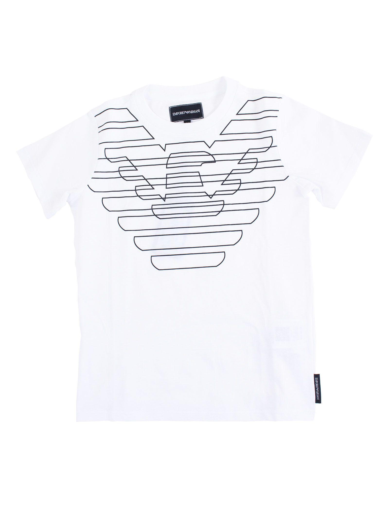 630b5684 Emporio Armani Kids Out-line Logo Print Short Sleeve T-shirt - White ...