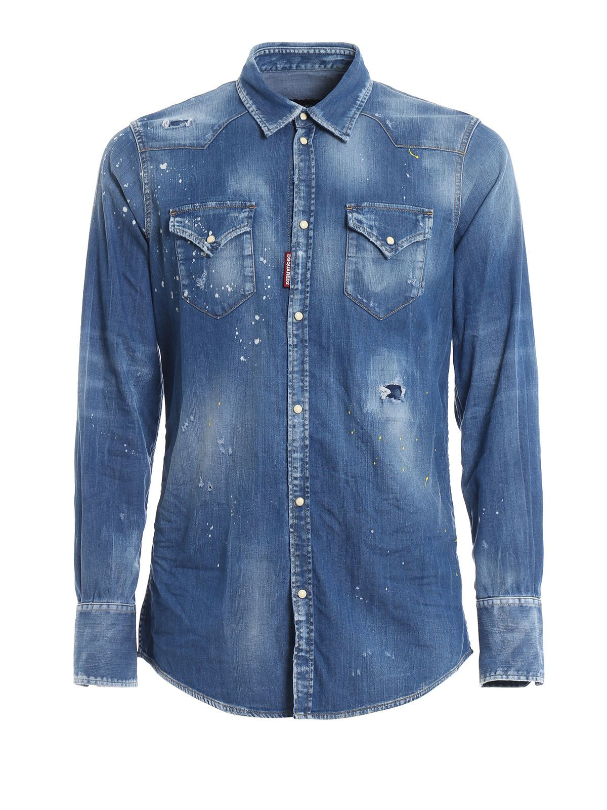 81eda1fce5 Dsquared2 Dsquared2 Bleached Effect Denim Shirt - Blue - 10822883 ...