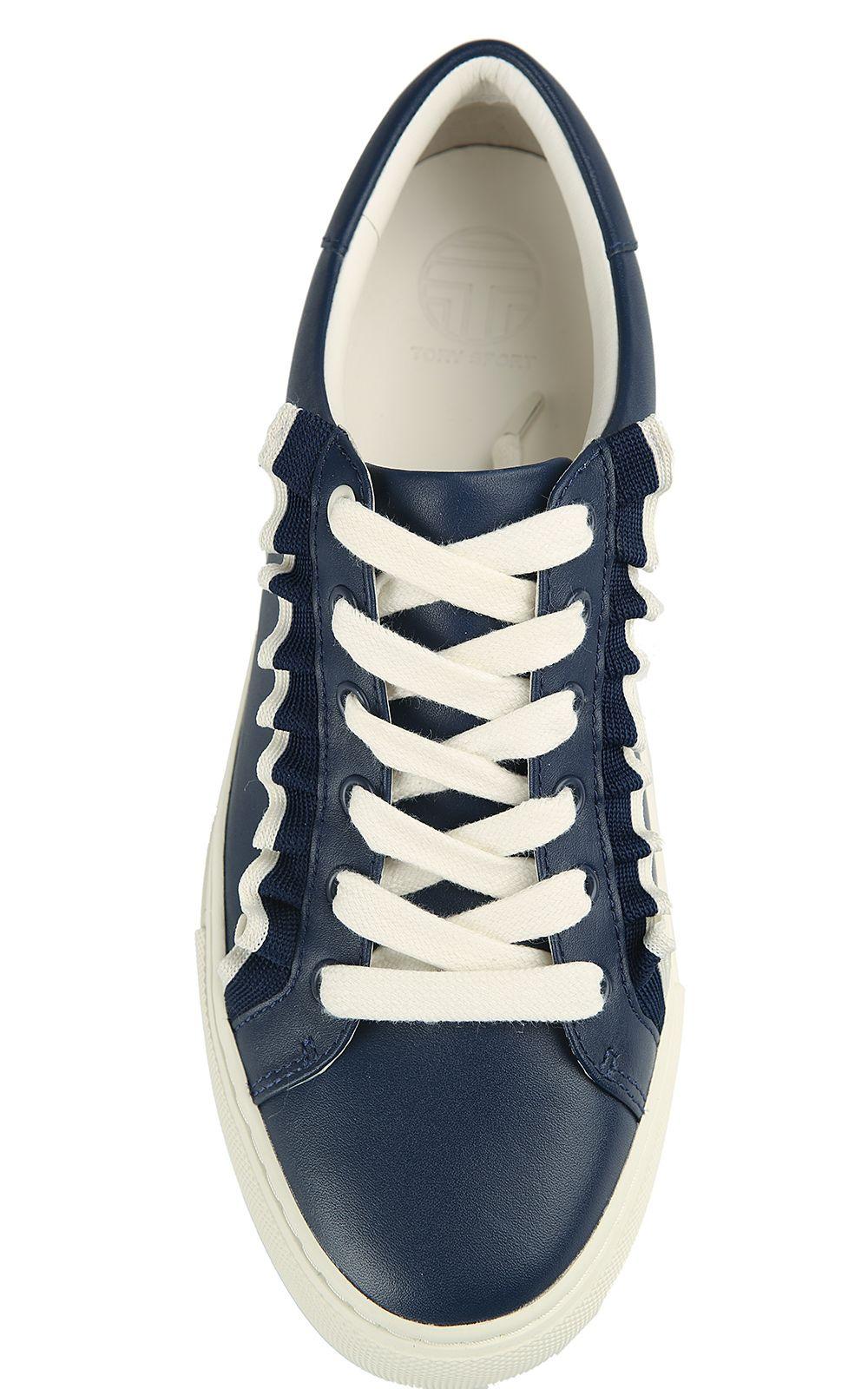 431845732e1c Tory Burch Tory Burch Tory Sport Ruffle-tim Leather Sneakers - Blu ...