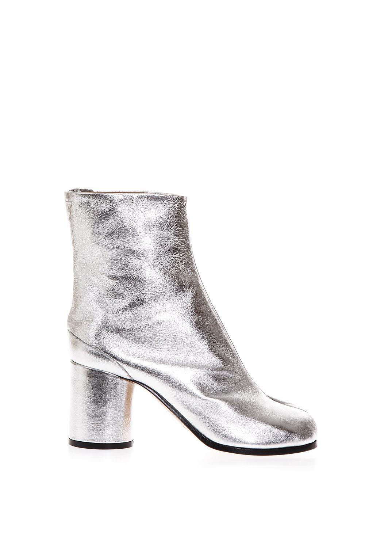 Maison Margiela Maison Margiela Tabi Silver Leather Ankle Boots