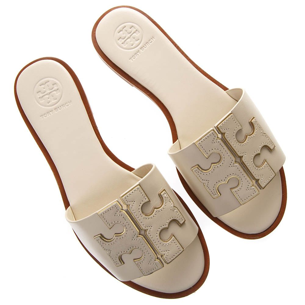 c3afa3ebc ... Tory Burch Ines Cream Color Leather Embossed Logo Slipper Sandal - White