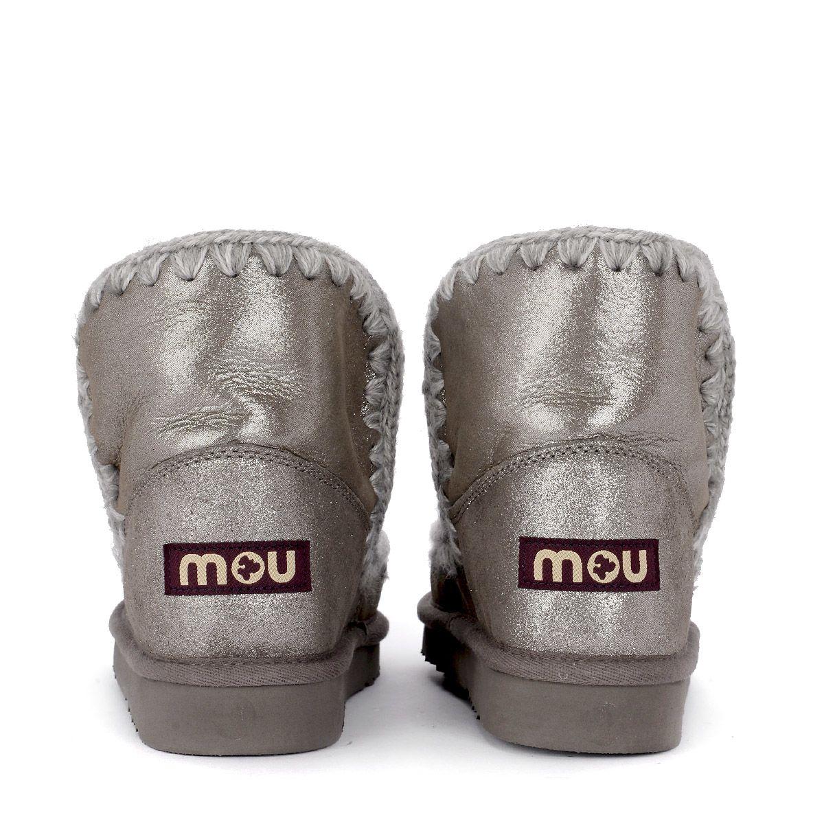 a46adfb7d03 Mou Mou Eskimo 18 Silver Micoglitter Sheepskin Ankle Boots - ARGENTO ...