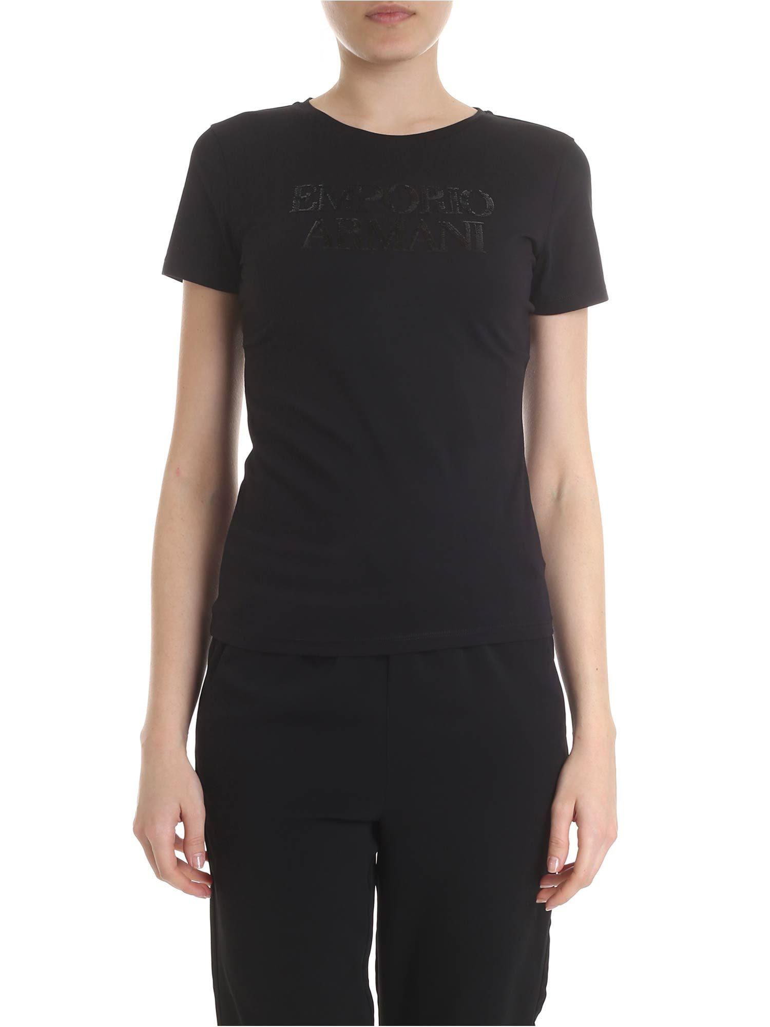 7ae59e723 Emporio Armani Emporio Armani Logo Embellished T-shirt - Black ...