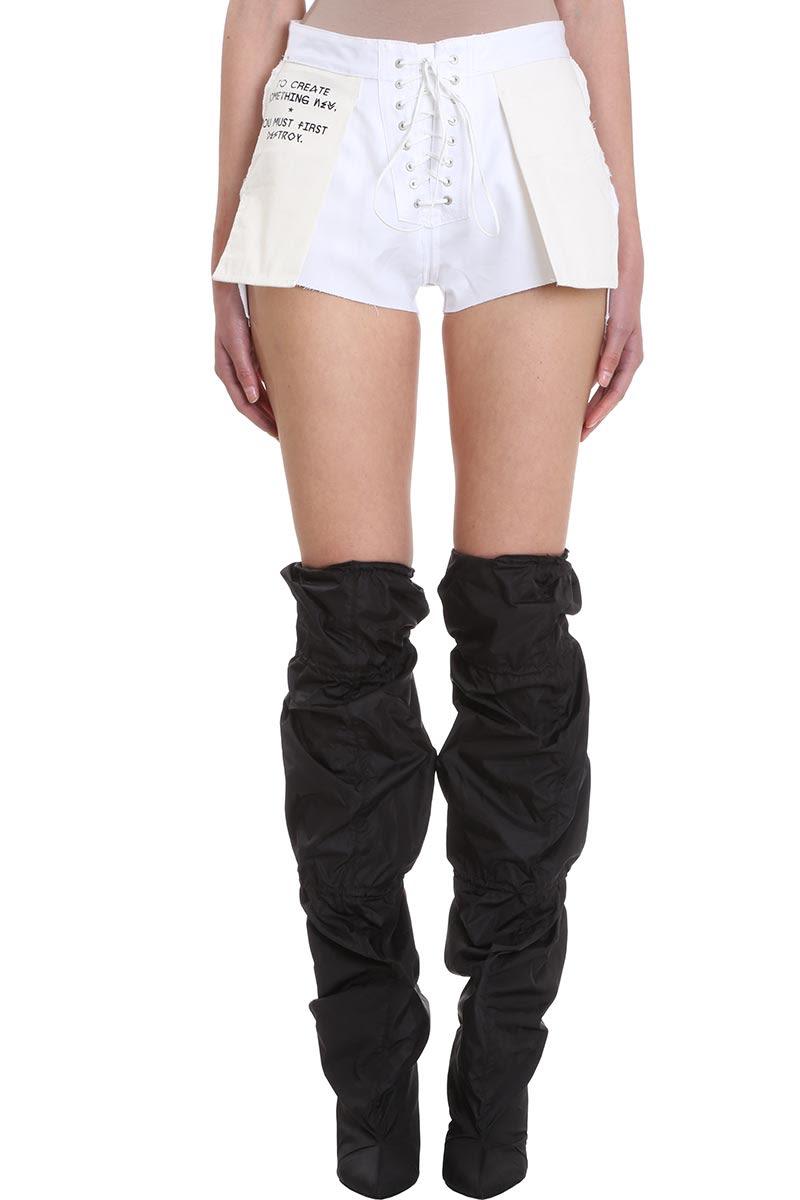 ecaaffe83e Ben Taverniti Unravel Project Twill Revers Lace Up Denim Cotton Shorts -  white ...