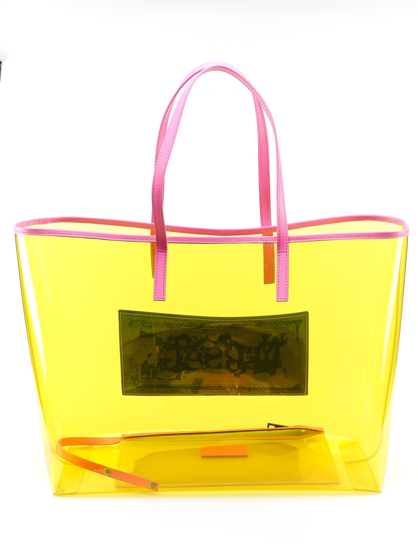 0272a62da1d3 Versace Versace Clear Vinyl Tote - Df2mt Giallo Fluo Multicolor ...