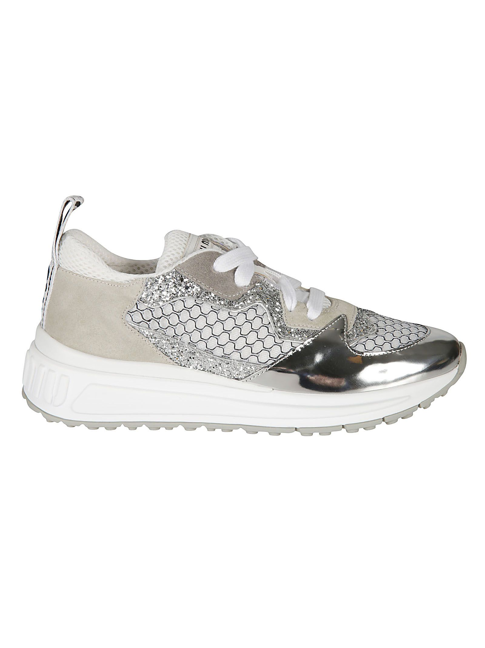 7cb0f8b6498 Miu Miu Miu Miu Glitter Detailed Sneakers - Silver - 10823544