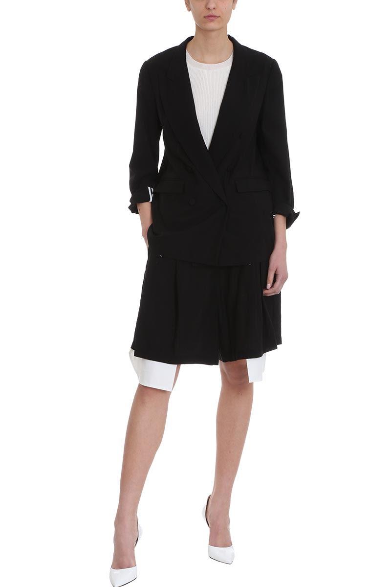 e3023c440 ... Maison Flaneur Asymmetric White Black Cotton Skirt Short - black ...