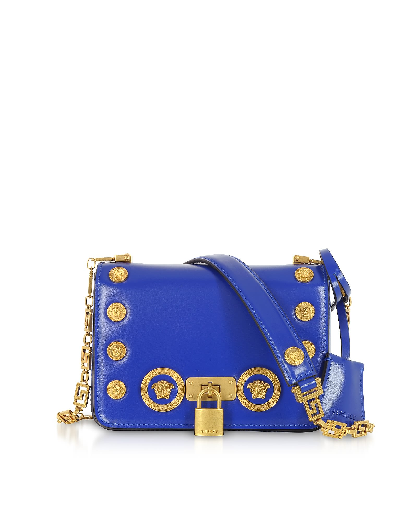 Versace Versace Small Icon Leather Shoulder Bag - Blue - 10770726 ... 7334ee3dd36e0
