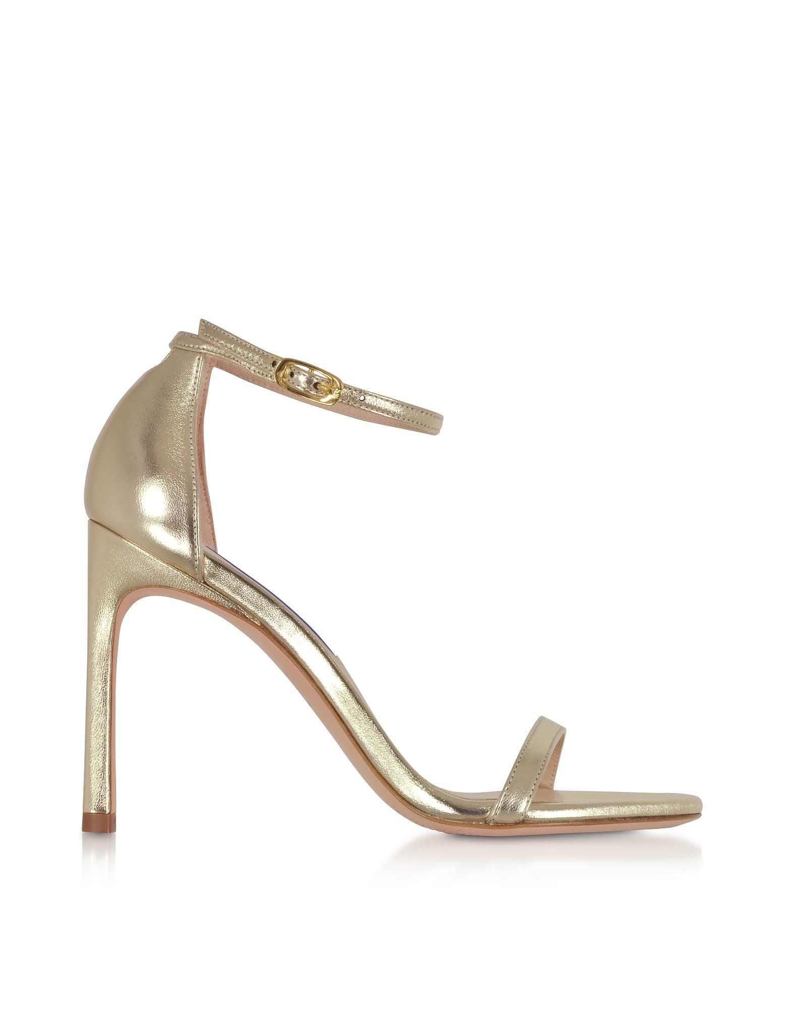 2ec672e62 Stuart Weitzman Nudistsong Platino Nappa Leather High Heel Sandals -  Platinum ...