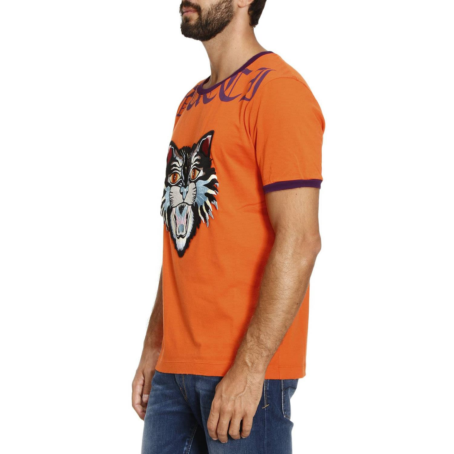 1eca53351e85 Gucci T-shirt T-shirt In Pure Cotton With Angry Cat Maxi Patch And Writing  - yellow - 7741286 | italist