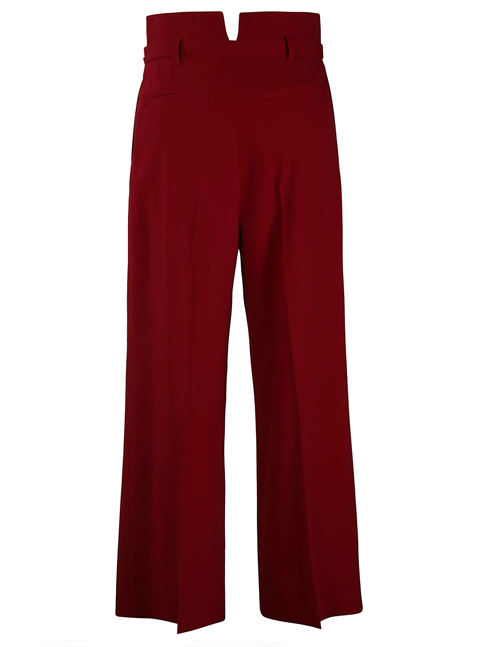recortados cinturón Cherry pantalones Valentino con Red recto YfnwEXgq