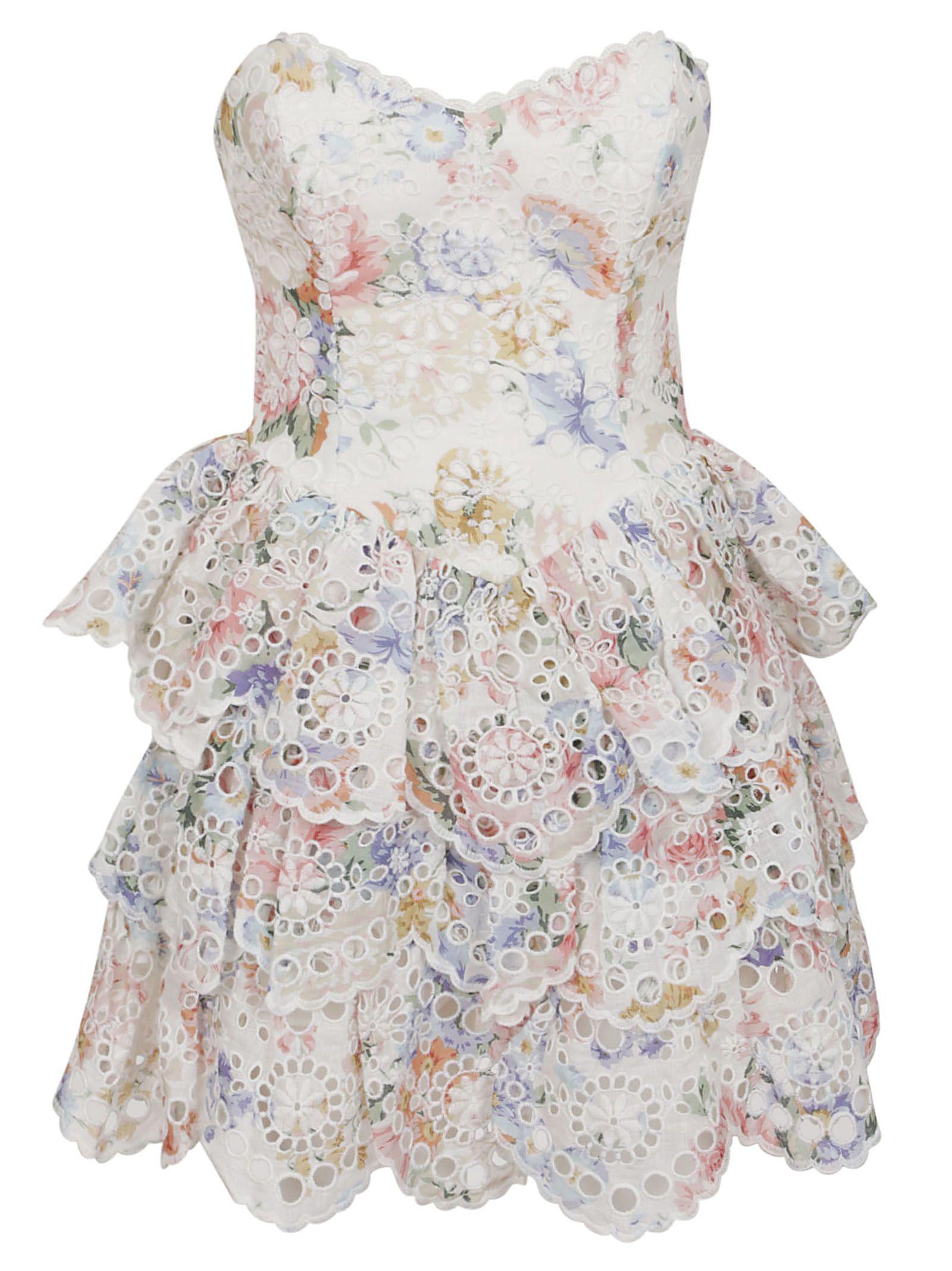 049c433c5c852 Zimmermann Zimmermann Bowie Ruffle Dress - Crf Cream Floral ...