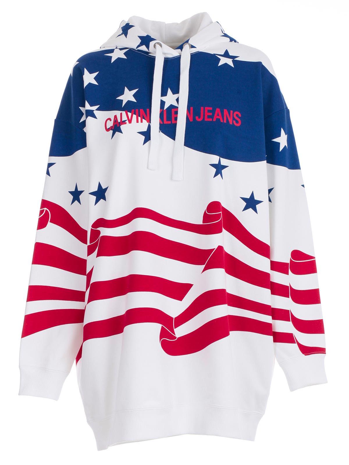 cc44b74f0c0b Calvin Klein Jeans Calvin Klein Jeans Flag Print Hoodie Dress - Flag ...