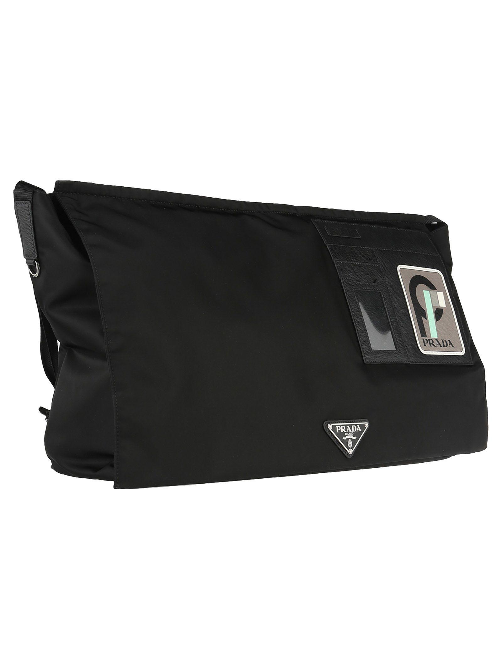 377c331097d3af Prada Prada Prada Logo Patch Shoulder Bag - BLACK ANTHRACITE ...