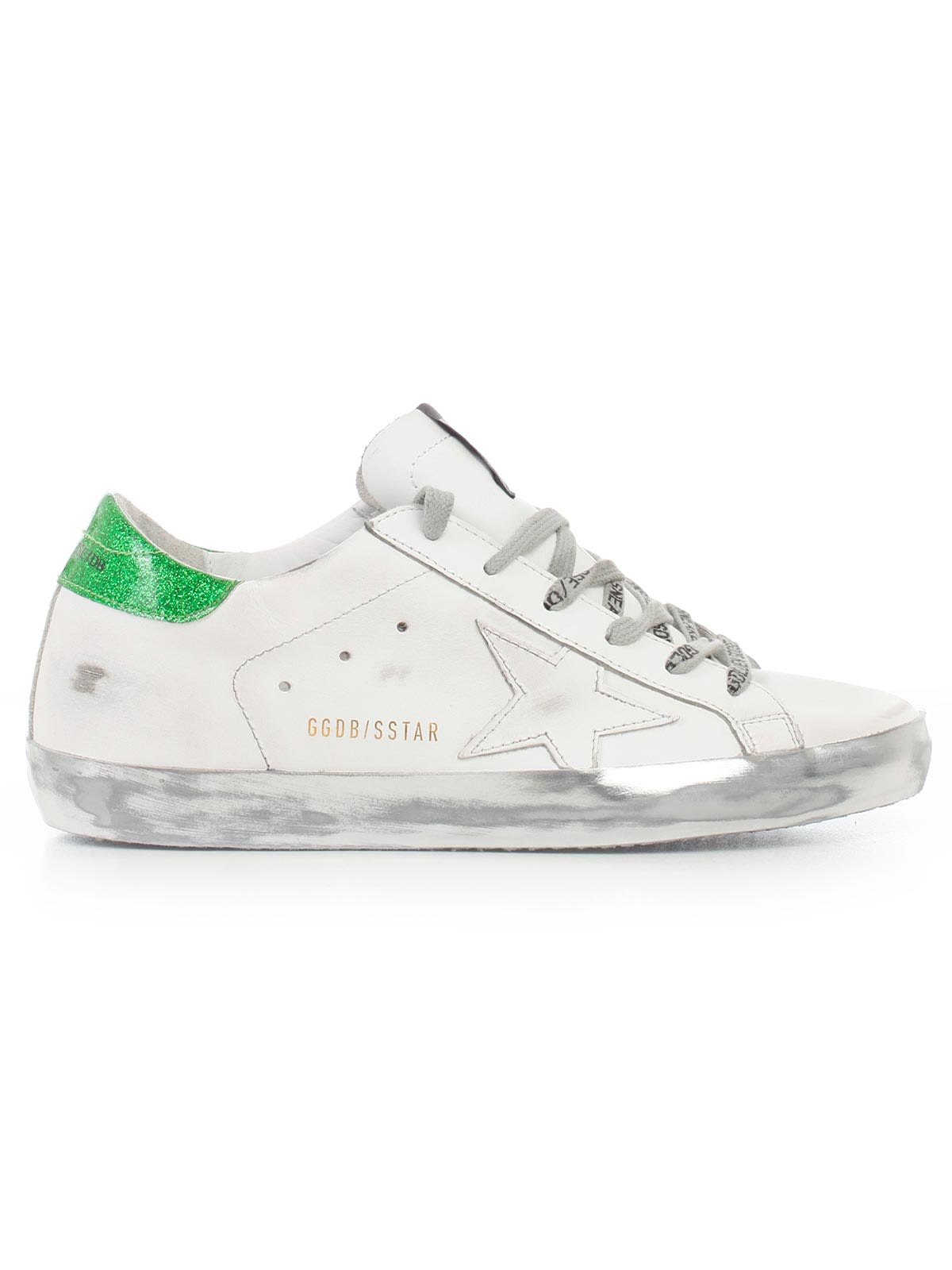 brand new a0086 8fabb Golden Goose Deluxe Brand Superstar Sneakers - White Sparkle Green Ggdb  Lace ...