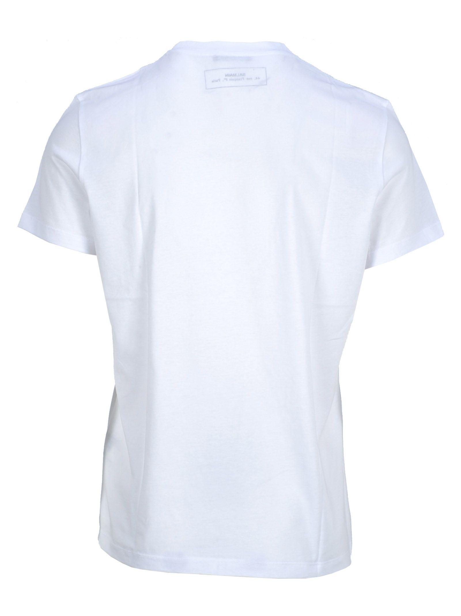 2d4f8bc5d Balmain Balmain Balmain Logo Print T-shirt - WHITE + RAINBOW ...