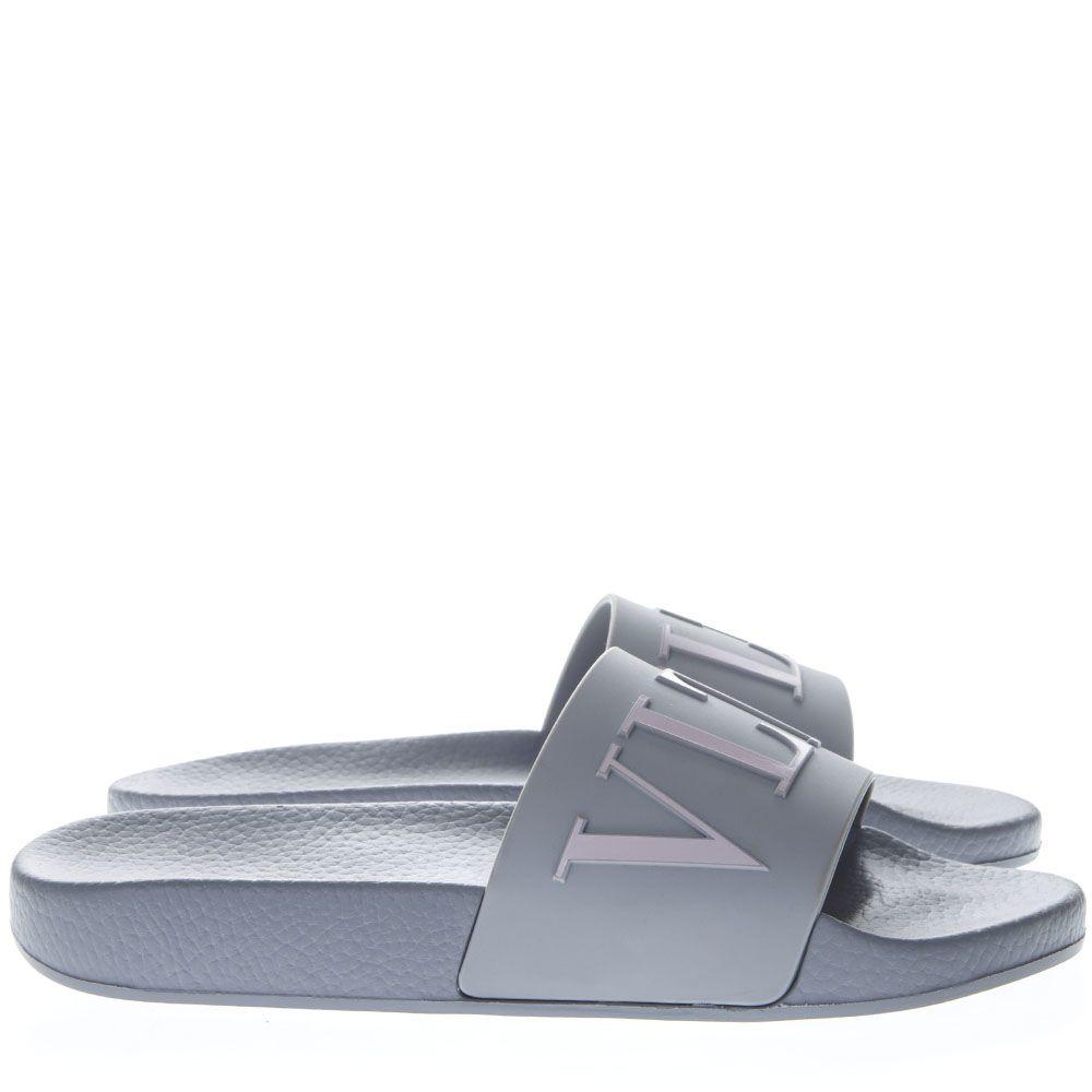 5e4882c21f4 Valentino Garavani Valentino Garavani Pearl Gray Vltn Slide Sandals ...