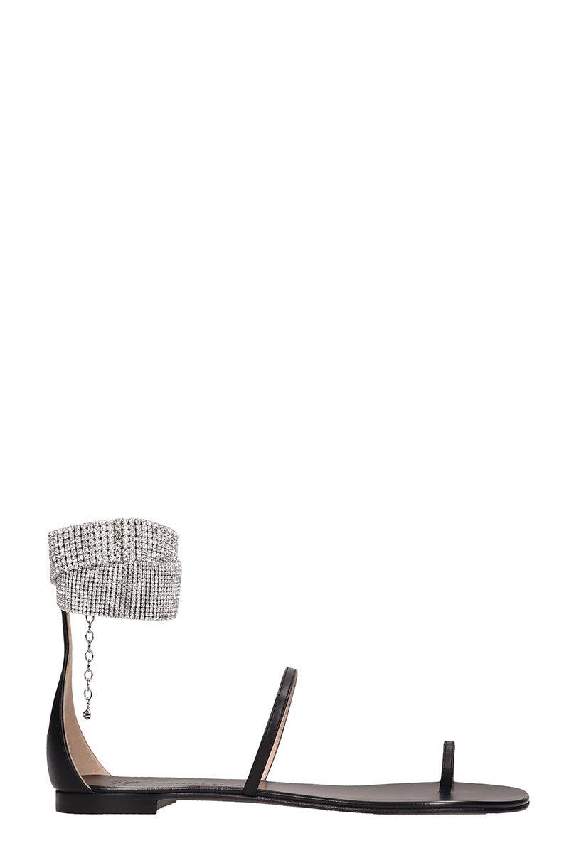 Giuseppe Zanotti Flats Giuseppe Zanotti Black Leather Flats Sandals