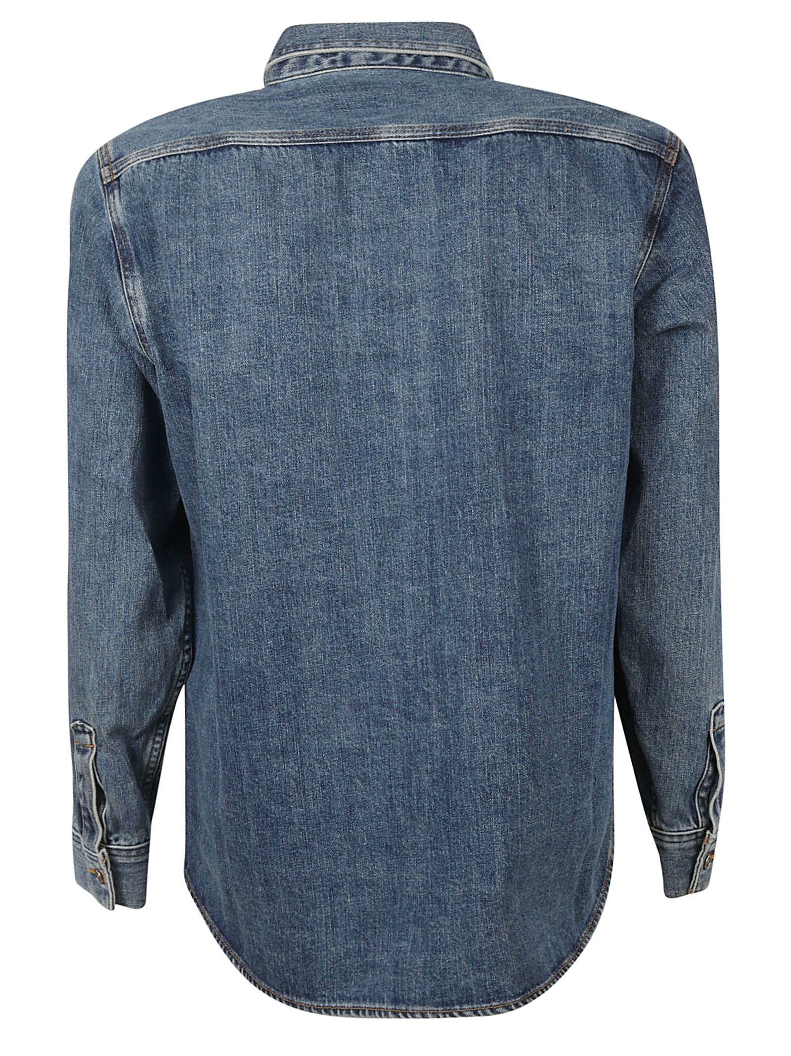 a4cd796abb Burberry Burberry Crest Print Denim Shirt - Blue - 10811794