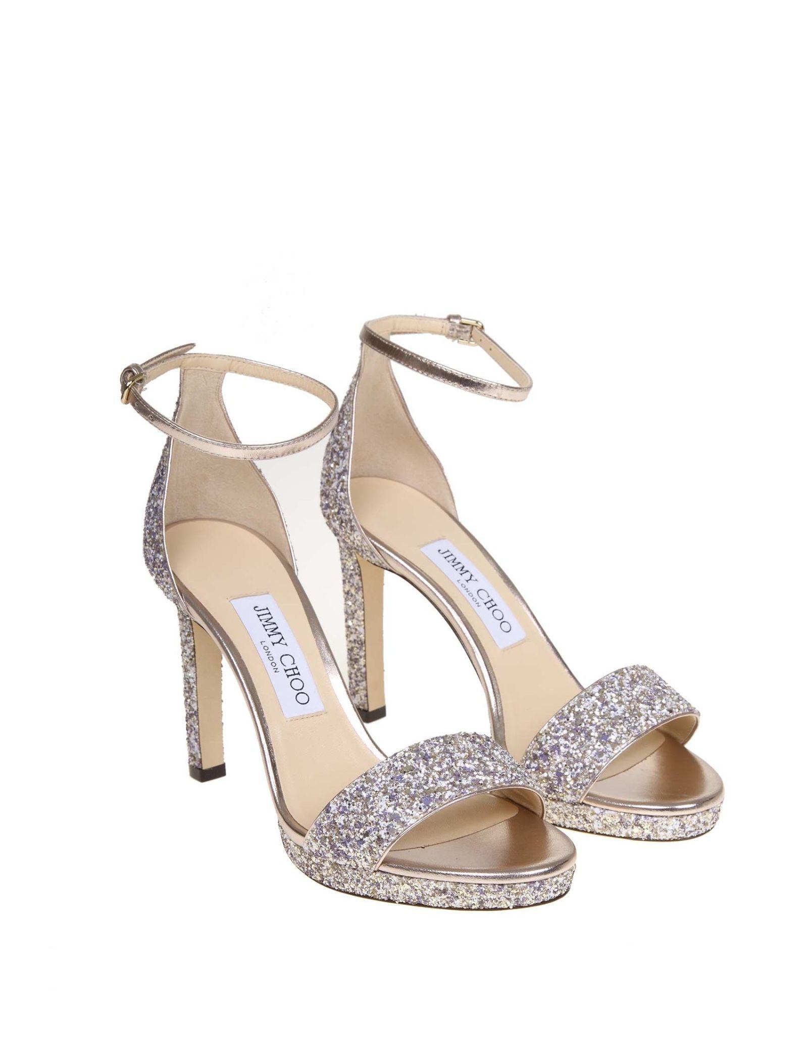 73c9d5402323 Jimmy Choo Jimmy Choo Sandal Misty 100 In Glitter - Gray - 10815707 ...