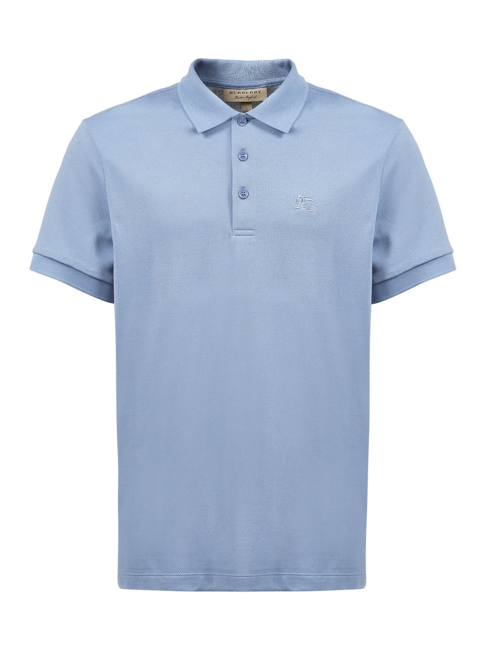 Burberry Burberry Embroidered Logo Polo Shirt Celeste 10821581
