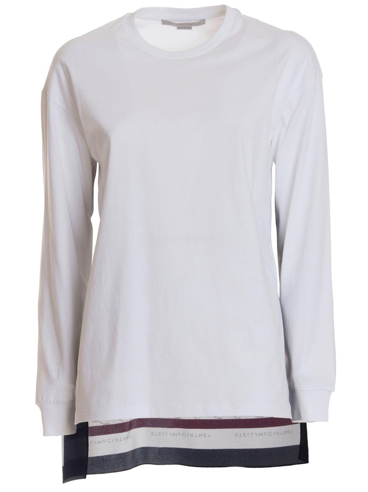 3bfd4323150 Stella McCartney Jersey Blouse With Monogram Silk Insert In Multicolor -  White ...