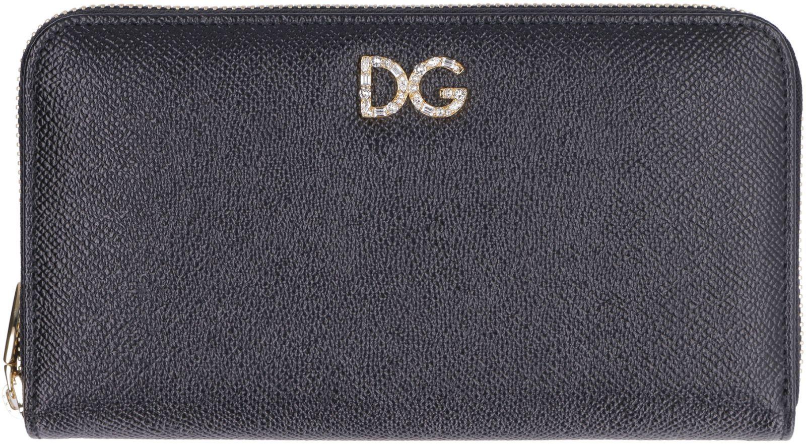 b94dff5c69 ... Dolce & Gabbana Dauphine Leather Print Zip Around Wallet - black ...