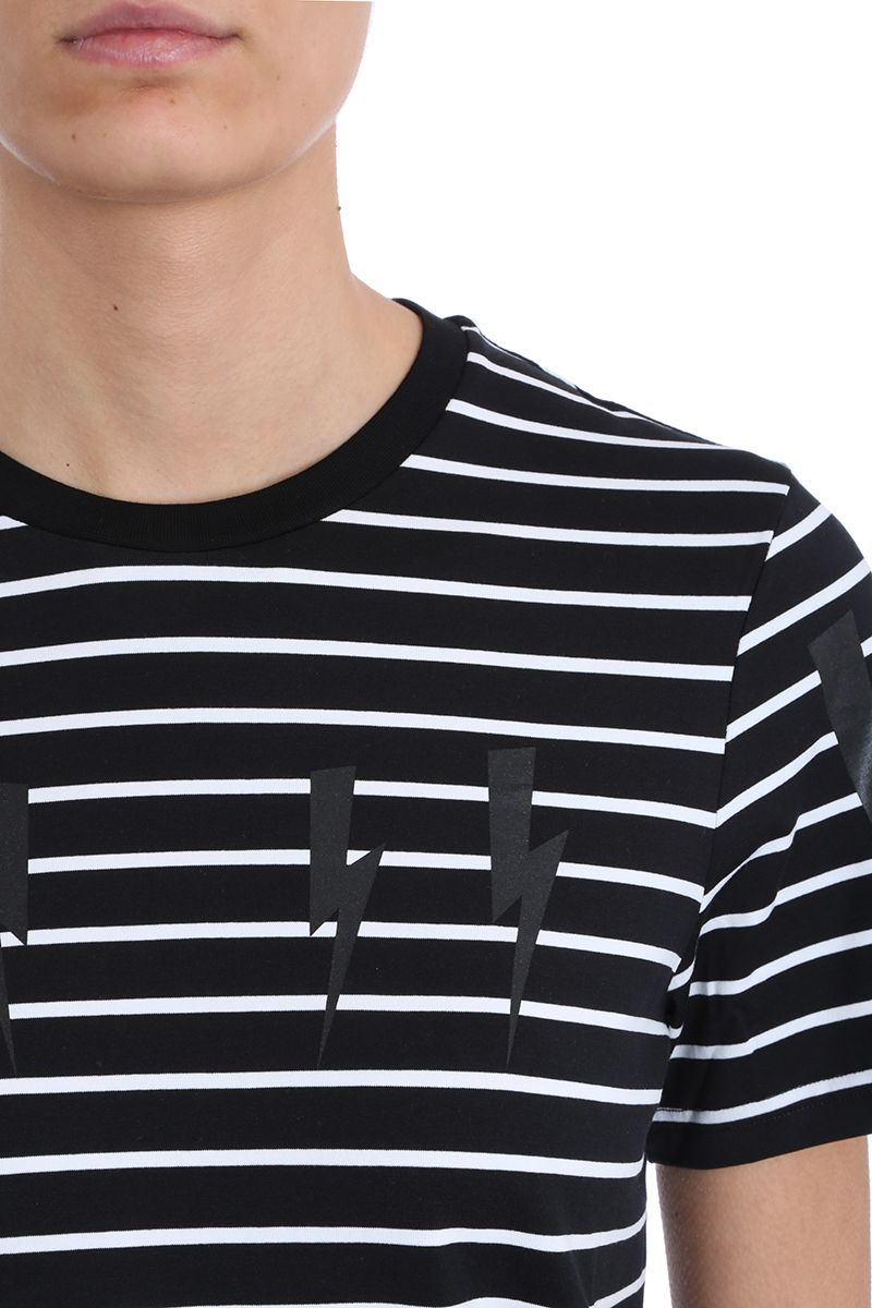 5f66dc04 ... Neil Barrett Lightning Bolt Stripes Black And White Cotton T-shirt -  black